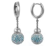 Pierre Cardin Damen-Creolen 925 Sterling Silber rhodiniert Glas Zirkonia Réunion blau S.PCCO90211D000