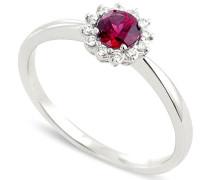 Damen-Ring 9 Karat (375) Weißgold Rubin-badm 07038-0001