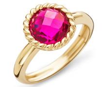 Damen-Ring 9 Karat ( 375 ) Gelbgold Granat Stein 2.9 ct. Quarz rot Rundschliff