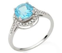 Damen-Ring 375 Weißgold runde Blau Topas Brillanten