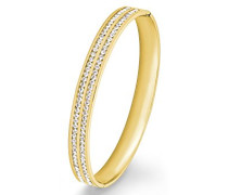 Damen-Armreif Swarovski Elements IP Gold Edelstahl Kristall weiß 6.7 cm - 567473
