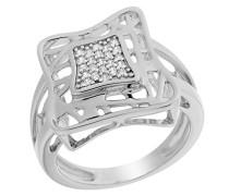Damen-Ring 925 Silber rhodiniert Zirkonia weiß Brillantschliff