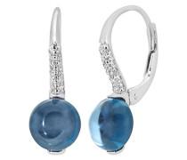 Damen-Ohrringe 9 Karat 375 Weißgold Diamant Blautopas Tropfenform 4.25 ct DE1508WBT