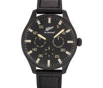 Herren-Armbanduhr–analog Quarz–Schwarz Zifferblatt–Schwarz Leder Riemen–680269