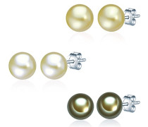 Classic Collection Damen-Set: 3 Paar Ohrstecker Hochwertige Süßwasser-Zuchtperlen in ca.  7 mm Button grün 925 Sterling Silber       60200125