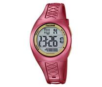 Unisex Armbanduhr Digitaluhr mit LCD Zifferblatt Digital Display und rot Kunststoff Gurt k5668/2
