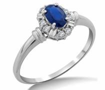 SA9019R Verlobungsring, aus 9-karätigem Weißgold, mit blauem Saphir und Diamant