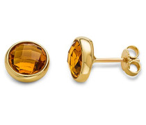 Damen-Ohrstecker Ohrringe 9 Karat ( 375 ) Citrine Quartz 2.0 ct Gelbgold Quarz orange Rundschliff - MNA9043E