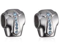 Unisex-Bead Drops Edelstahl mit hellblauen Kristallen SCZ060