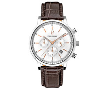 213C124–Week End Vintage–Armbanduhr–Quarz Chronograph–Zifferblatt Silber Armband Leder braun