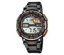 Herren Digitale Armbanduhr mit LCD Dial Digital Display und schwarz Kunststoff Gurt k5672/1