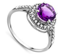 Damen-Ring 375 Weißgold runde Amethyst Brillanten