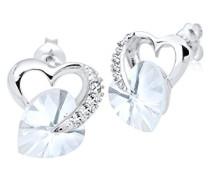 Damen Ohrringe Herz Liebe Freundschaft Liebesbeweis 925 Sterling Silber Swarovski Kristalleweiß