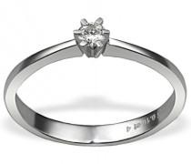 Damen-Ring Weiss Gold 585 1 Brillant 0,10 Karat Solitär 6 Stotzen Grösse 60 So R3986WG60 Schmuck