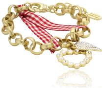Damen-Armband Messing Vintage Herz gold/rot 2566