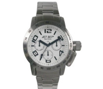 –J30644–132San Remo Dame Damen-Armbanduhr–Quarz Chronograph–Weißes Ziffernblatt–Armband Stahl Silber