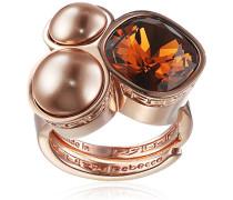 Damen-Ring Trilogy Vergoldet teilvergoldet Kristall braun Synthetische Perle Rosa Ringgröße verstellbar - BTRARM06
