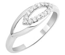 Damen-Ring 9 Karat (375) Weißgold Diamant 0,15 Karat, verstellbar, Dreiecke, MKW9011R4