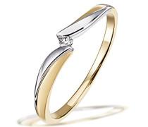Damen-Ring Bicolor 585 Gold 1 Brillant 0,02 ct.