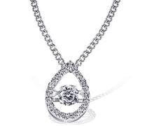 Damen-Halskette 925 Sterlingsilber MovingStar Tropfen mit weißen Zirkonia Kettenanhänger Schmuck