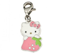 Hello Kitty Mädchen-Charm K91055P Stahl Erdbeere Rosa