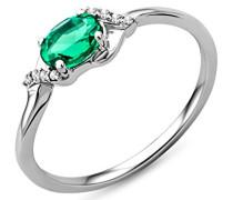 Damen-Ring 9 Karat (375) weißgold  Smaragd und Brillanten, Größe  53 SA9040RM
