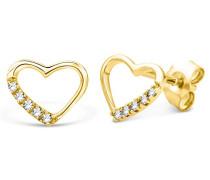 Damen - Ohrstecker Herzförmige 9 Karat mit Brillanten 375 Gelbgold Diamant (0.07 ct) weiß Rundschliff - UNI010EY