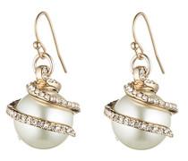 Damen-Ohrringe Messing Glas Transparent Rundschliff