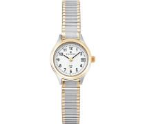 Damen-Armbanduhr 622549 Quarz Analog weißes Zifferblatt Metallarmband (Zweifarbig)