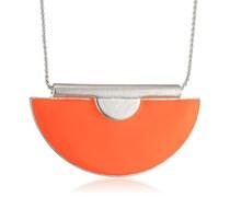 Pilgrim Jewelry Damen-Halskette Messing mit Anhänger aus der Serie charisma versilbert,orange 40 cm 241326301