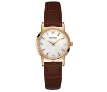 Bulova Damen-Armbanduhr Diamant Quarz mit Rose Gold IP Fall Braun Lederband und Mutter von Pearl Zifferblatt mit 4handgefassten Diamanten 97P105
