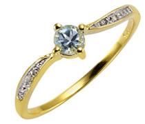 Gold Damen-Ring 375 Gelbgold Topas blau Brillantschliff Zirkonia