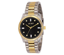 Cool 59776-232-J Damen-Armbanduhr Alyce Quarz analog Armband Stahl, Bi-Color, schwarz