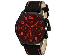 –j6480b-217–Mailand Damen-Armbanduhr–Quarz Chronograph–Zifferblatt schwarz Armband Stahl Silber