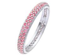 Damen-Ring Versilbert Glaskristall Rosa SFR1301-L