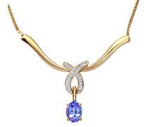 Damen-Halskette 375 Gelbgold Tansanit Tropfenform Diamant 9 Karat