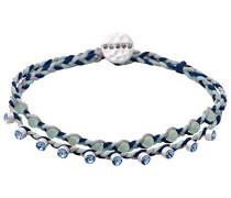 Damen-Armband Versilbert mattiert Kristall blau Rundschliff 18 cm - 211726102