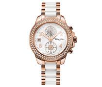 Damen-Armbanduhr Glam Chrono Rosegold Weiß Analog Quarz
