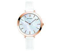 004d990–Wochenende Basic Damen-Armbanduhr–Quarz Analog–Weißes Ziffernblatt–Armband Leder Weiß