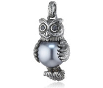Damen- Anhänger 925 Silber Perle Brillantschliff Zirkonia grau/schwarz LD OW 33- B