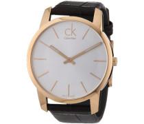 Calvin Klein Herren-Armbanduhr XL City Analog Leder K2G21629 PVD rosagold