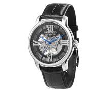 Longitude ES-8062-01 mechanische Herren-Armbanduhr, schwarzes Zifferblatt mit Skelett-Anzeige, schwarzes Lederarmband