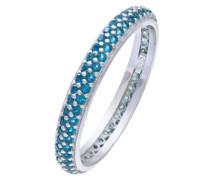 Halskette mit Anhänger rhodiniertes Silber zweireihig Stein Zirkonia blau