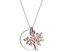 Premium Damen-Kette mit Anhänger Lebensbaum Kreis 925 Silber rhodiniert Swarovski Kristalle weiß Facettenschliff 45 cm 0102310617_45