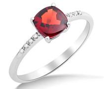 Damen-Ring 375 Weißgold rhodiniert Granat rot Kissenschliff Diamant (0.024 ct)