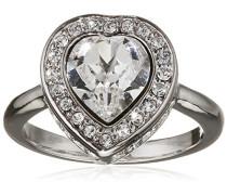 Damen-Ring Herz Messing Glas weiß