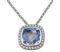 Miore Damen-Kette 925 Sterling Silber Anhänger Topas Blau Briolette Schliff Zirkonia 43 cm MPS043N