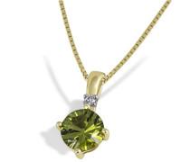 Damen-Halskette 333 Gelbgold 1 Peridot 1 Diamant Kettenanhänger Brilliant Schmuck