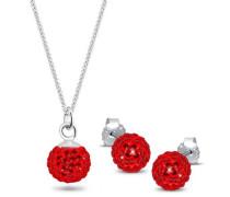 Damen-Halskette + Ohrringe Swarovskikugel 925 Sterling Silber Swarovski Kristall rot Brillantschliff 0905560411_45