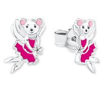 Kinder-Ohrstecker Mädchen Maus Tier emailliert 925 Sterling Silber rhodiniert Emaille pink